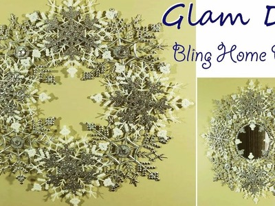 Dollar Tree DIY Glam Bling Snowflake Christmas Wreath Snowflake Wall Mirror