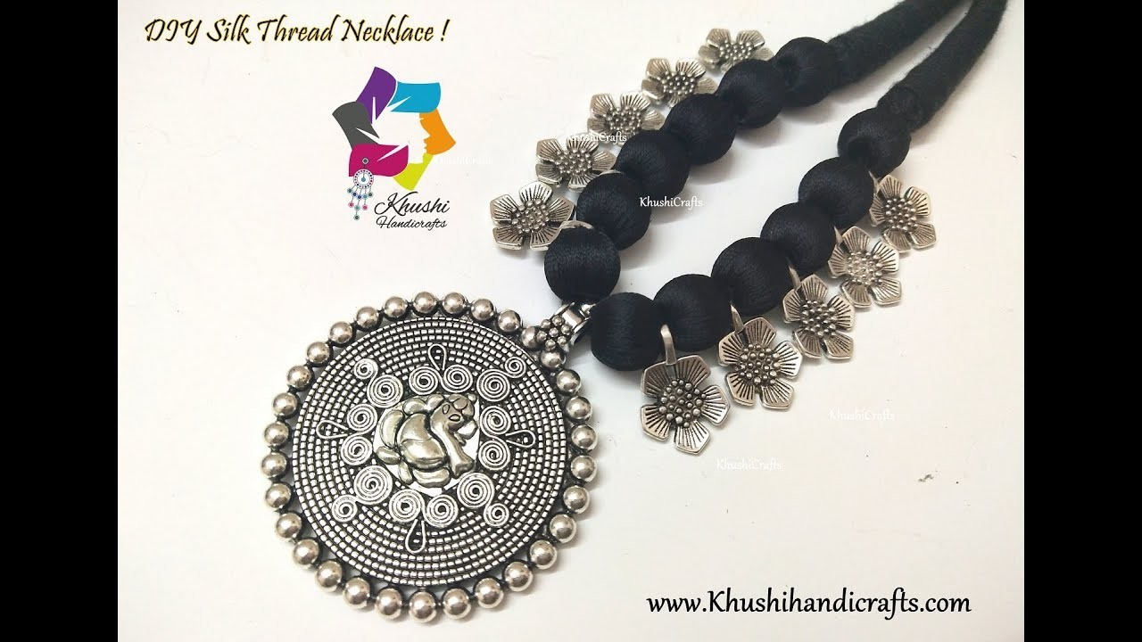Easy DIY Black Silk Thread Oxidised Necklace | Handmade Jewellery | Jewellery Making