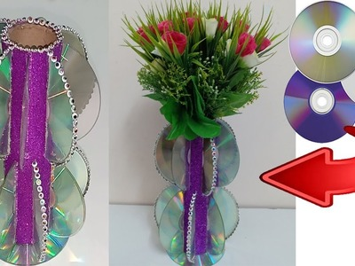 Easy Recycle Crafts ! DIY Flower vase making from waste CDs ! Best Out of waste craft ideas !