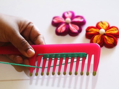 Flower Making with Comb | Wool Flowers | DIY Wool Crafts