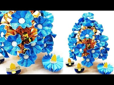 Guldasta.flower vase from plastic bottle & glitter sheet at home | DIY Foam Flower Guldasta. 121