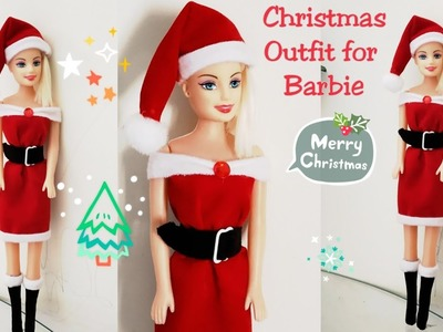 How to Make Christmas Outfit for Dolls.DIY Easy Barbie Dress.Mrs. Claus Christmas outfit for Dolls