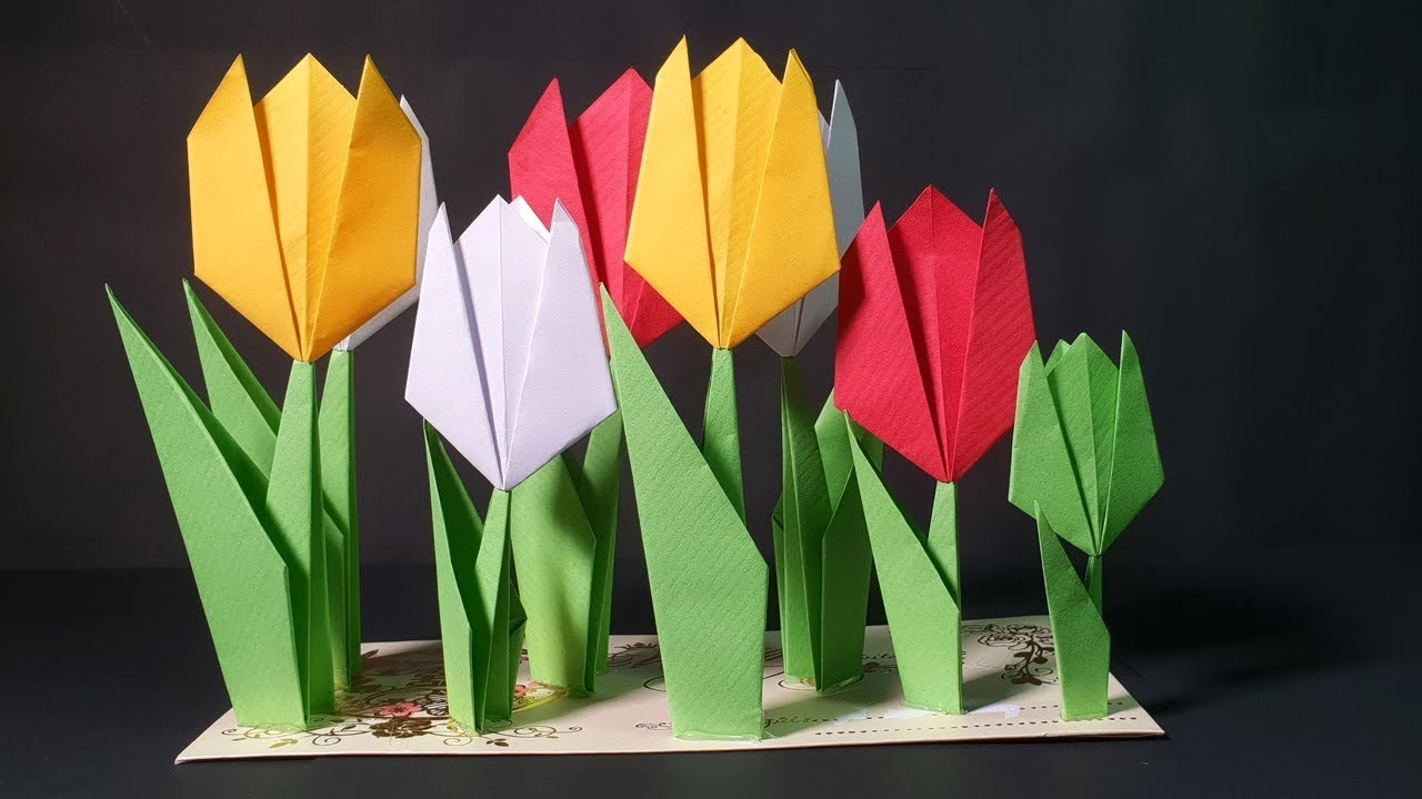 how to make tulip flower with craft paper