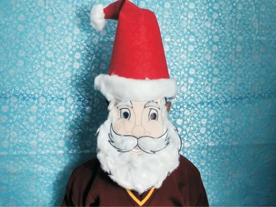Santa face mask diy l No elastic Santa Claus face mask l how to make easy Santa mask for Christmas