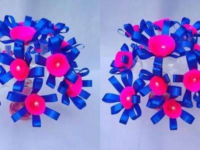 गुलदस्ता. (DIY)-NEW DESIGN WOOLLEN GULDASTA.WASTE PLASTIC BOTTLE GULDASTA.RIBBON FLOWERS