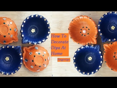 #39 DIY How To Decorate,Paint Traditional Diyas At Home    Diya Decoration Ideas For Diwali