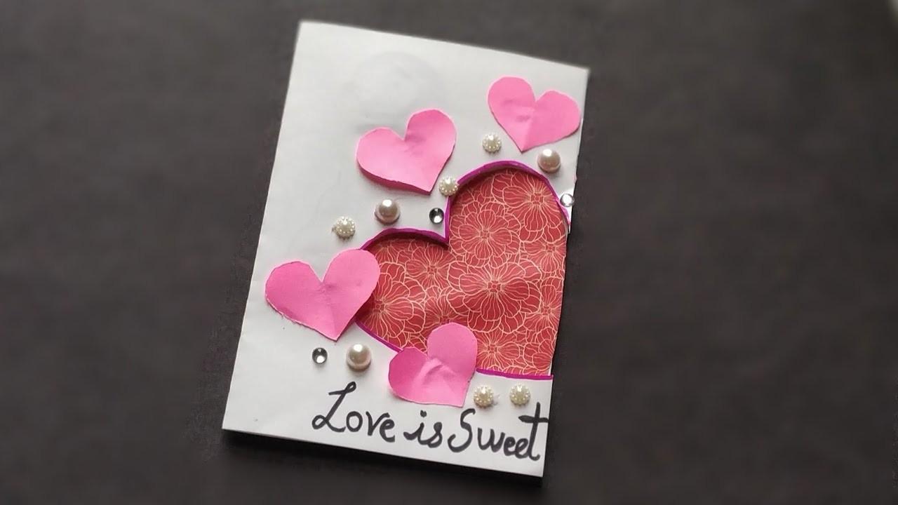 Beautiful Handmade valentine's card idea. DIY Greeting Card for valentine's Day