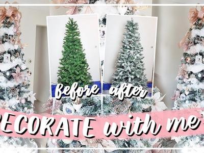 Decorate With Me Christmas Tree 2018 | DIY Flocked Tree & DIY Faux Fur Garland