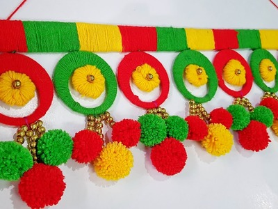 DIY Bangle Toran. Best out of waste bangles & wool. Home Decoration Idea