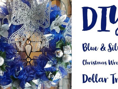 DIY Blue and Silver Christmas Wreath.Dollar Tree