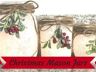 DIY CHRISTMAS MASON JARS. 2018 CHRISTMAS DIY CHALLENGE. VLOGMAS DAY 3