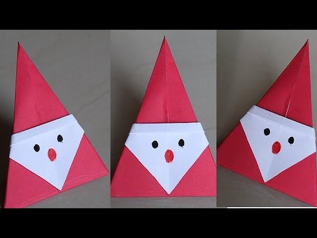DIY - Christmas Origami Santa Claus - Easy origami - How to make an easy origami Santa Claus