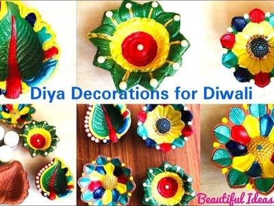 #DIY#Diya Decoration Making at Home For Diwali. #Beautiful Diya Decoration Ideas. #Beautiful Ideas