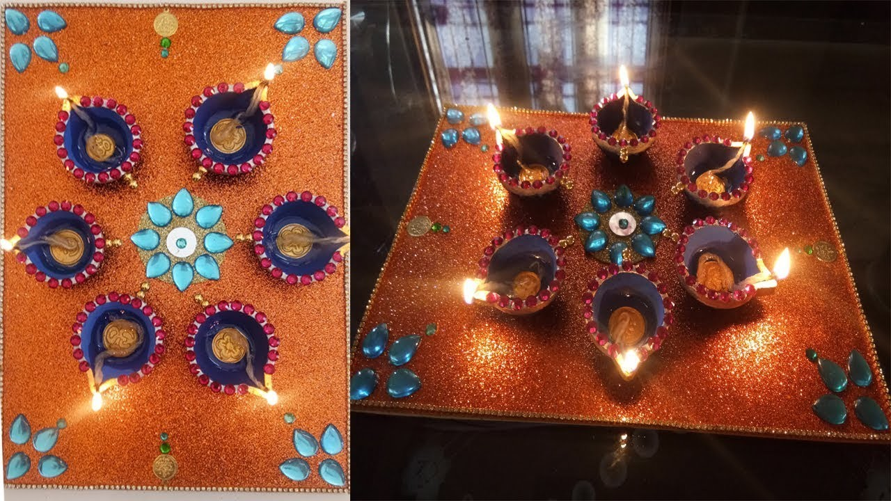 DIY easy diya decoration at home ! diwali diya decoration ideas ! diwali decoration at home