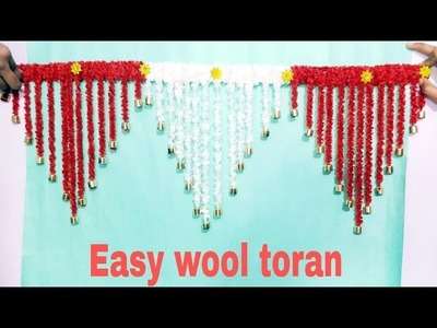DIY- EASY WOOL DOOR TORAN.BEST OUT OF WASTE WOOL.HOME DECORATION IDEA.WOOL CRAFT IDEA