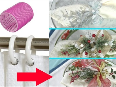 DIY From Trash! 10 Ideas! Napkin Rings FROM Shower Curtain Hooks or Hair Roller | 4Anastasia
