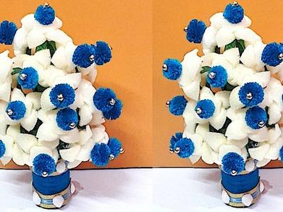 DIY-Guldasta.flower vase from plastic bottle & Foam flower at home Best out of waste  DIY Flower pot