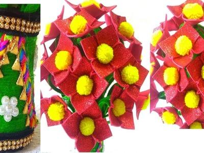 DIY Guldasta.Make Amazing Foam Rose Flowers Guldsata.Foam Flower Pot New Model.X-RAY Craft Ideas