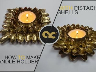 DIY : How To Make Candle Holder With PistaChio Shells | كيف تصنع حامل للشمع بقشور الفستق