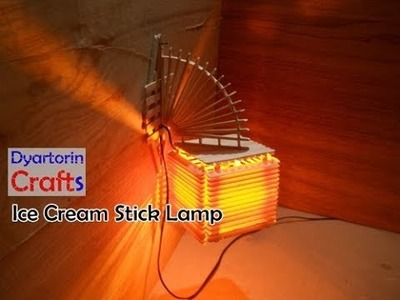 Diy ice cream stick lamp | popsicle stick wall decor idea