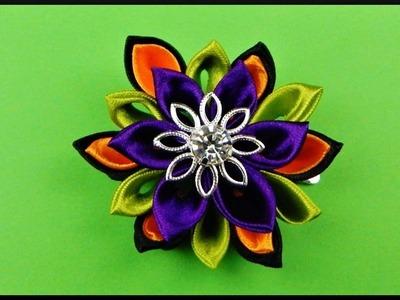 DIY   Kanzashi Halloween Flower Barrette   Hair Accessories   Blumen Halloween Stoff Haarspange