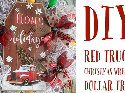 DIY Red Truck Christmas Wreath.Dollar Tree