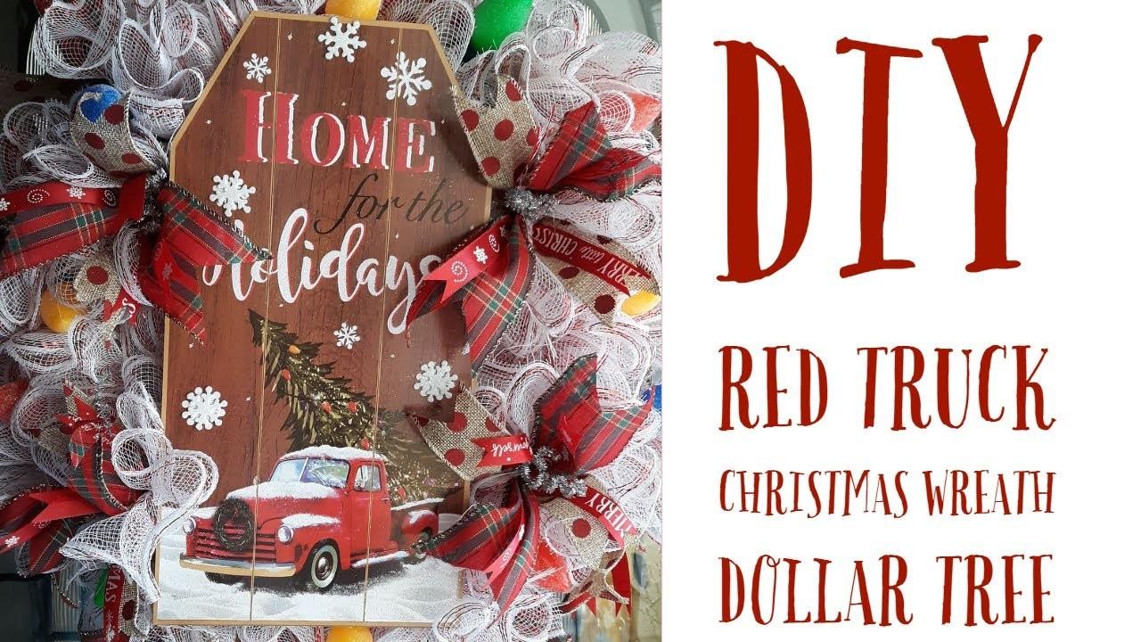 DIY Red Truck Christmas Wreath.Dollar Tree