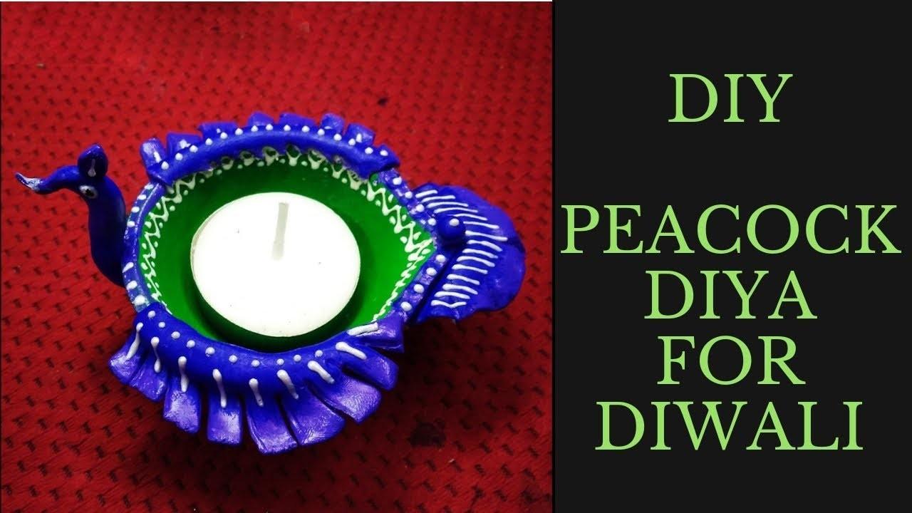 Diya Decoration Ideas For Diwali Diy Peacock Lamp For Diwali