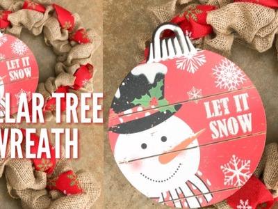 DOLLAR TREE CHRISTMAS DIY | RUSTIC CHRISTMAS DECOR | BURLAP ☃️ WREATH