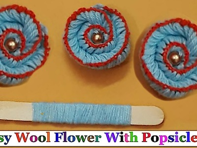 Easy Woolen Flowers with Popsicle stick step by step | DIY-  woolen thread flower making idea