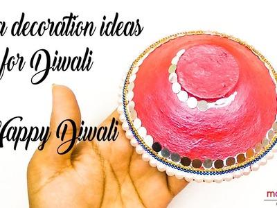 How to decorate diya at home | DIY easy diya decoration ideas for diwali