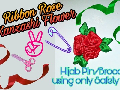 How to make 3 Attached Ribbon Roses  | KANZASHI FLOWER