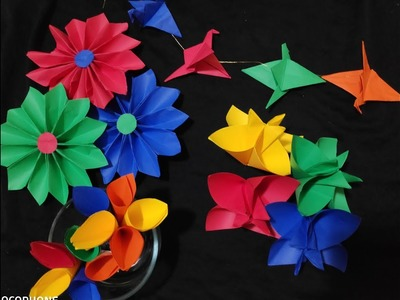 How to make Origami Flowers, DIY Simple & Easy Origami Flowers.Decoration Ideas - Part 1