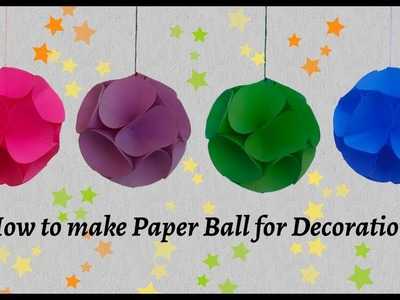 How to make Paper Ball for Decoration | Christmas Decoration Hanging | Paper Ball Hanging