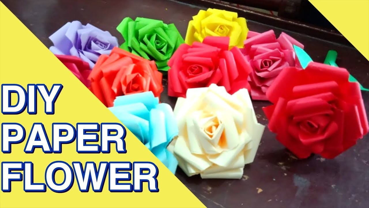 How To Make Simple Easy Paper Flowers At Home Paper Cutting Craft