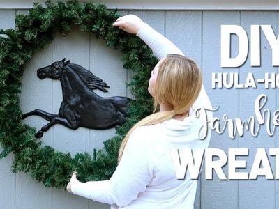 HUGE DIY HULA HOOP CHRISTMAS WREATH!
