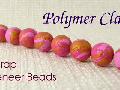 Making polymer clay scrap veneer beads