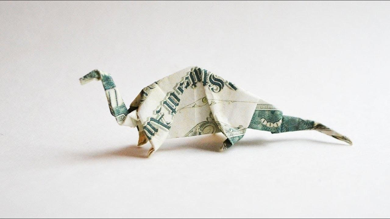 Money Dinosaur Origami Dollar Animal Tutorial Diy