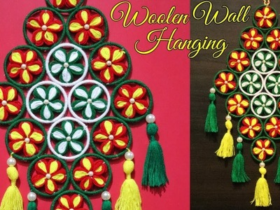 Woolen Door Hanging. DIY Wall Hanging Out Of Wool. Wool Flower Making. Home Decoration Idea
