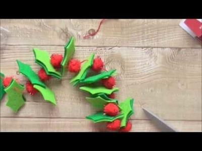 12 Hours of Christmas Crafts For Kids #8 Holly Garland