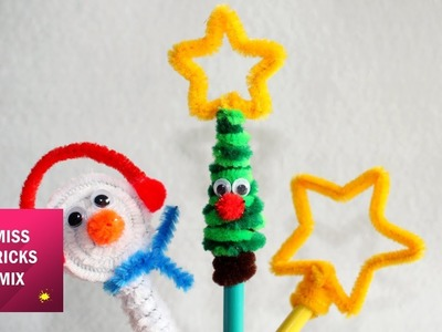 3 Christmas Pipe Cleaner Pencil Toppers | Pipe Cleaner Crafts For Kids.