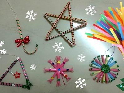 Christmas decoration ideas|Handmade Christmas ornaments|Drinking straw X mas craft |How to make|DIY