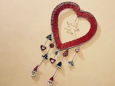Christmas decorations Ideas.Christmas wall hanging.Christmas craft Ideas.Heart Showpiece at home.