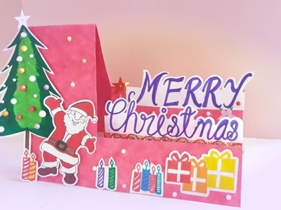 Christmas Greeting card || side step greeting card idea for Christmas