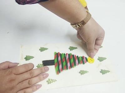 Christmas ???? tree card. Christmas Handmade card using pipe cleaners