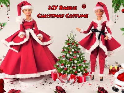 DIY Barbie Christmas Costume, Barbie Santa Costume. Making Easy  Clothes for Barbies