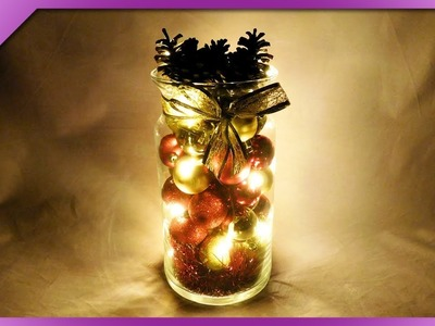 DIY How to make Christmas decoration out of baubles and pine cones (ENG Subtitles) - Speed up #549