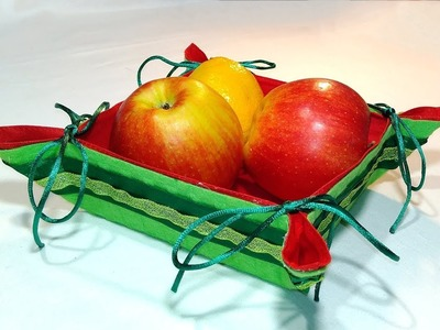 Easy Handmade Christmas gifts - fruit and bread basket (fabric + felt) no sew.
