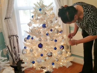 How to Decorate a White Christmas Tree with Blue, Silver and White Ornaments
