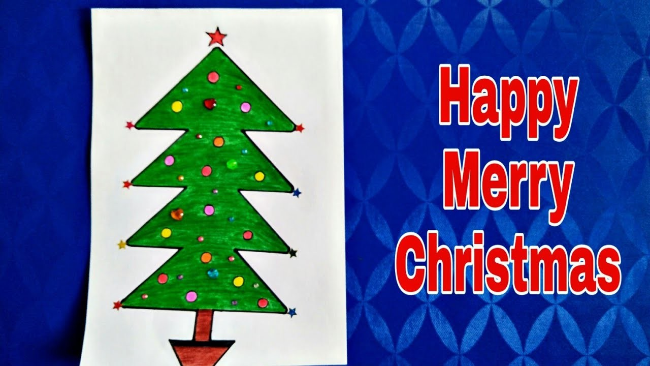 How to draw very easy christmas tree, christmas Tree Drawing, Jingle Bell, Happy Merry Christmas